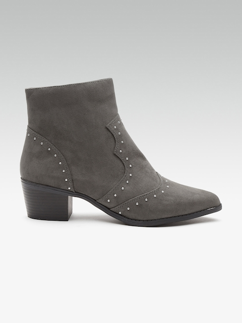 DOROTHY PERKINS Women Charcoal Grey Studded Mid-Top Heeled Boots