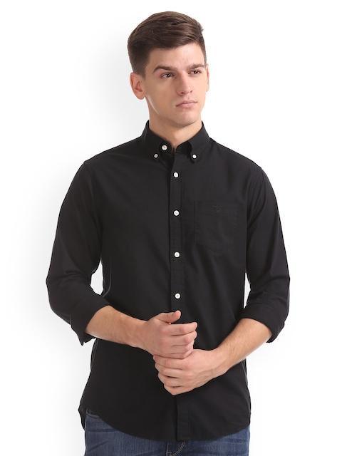 GANT Men Black Regular Fit Solid Casual Shirt