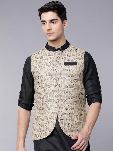 Svanik Men Beige & Black Printed Slim Fit Nehru Jacket