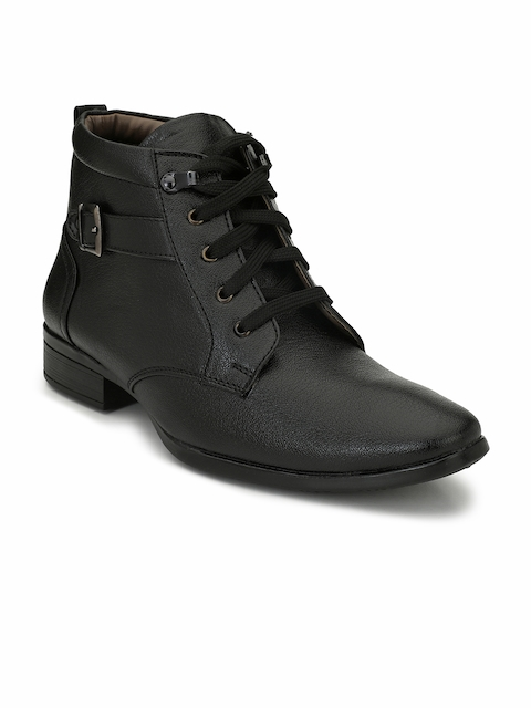 Eego Italy Men Black Solid Synthetic Leather High-Top Flat Boots