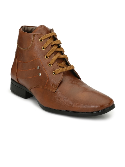 Eego Italy Men Tan Colour Solid Mid-Top Flat Boots