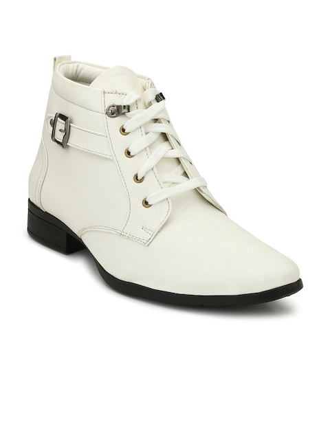 Eego Italy Men White Solid Mid-Top Flat Boots