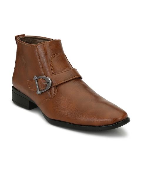 Eego Italy Men Tan Solid Mid-Top Flat Boots
