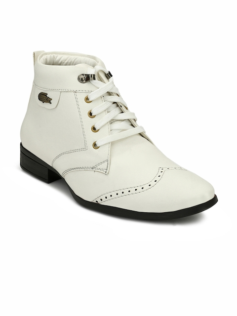 Eego Italy Men White Solid Synthetic High-Top Flat Boots