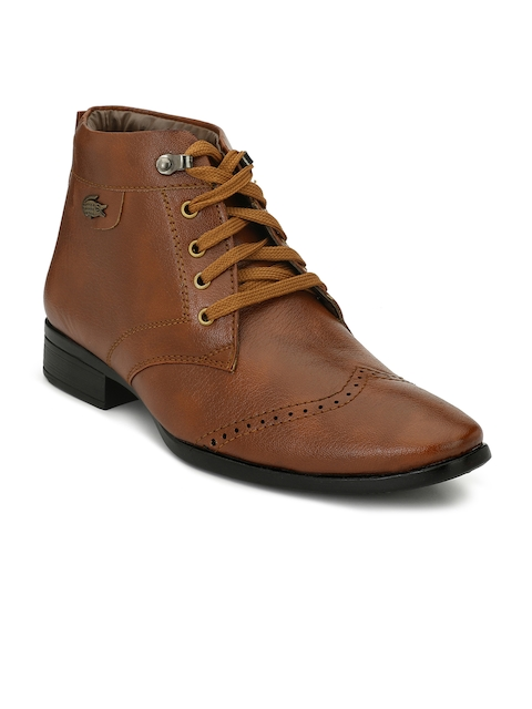 Eego Italy Men Tan Solid Synthetic Mid-Top Flat Boots