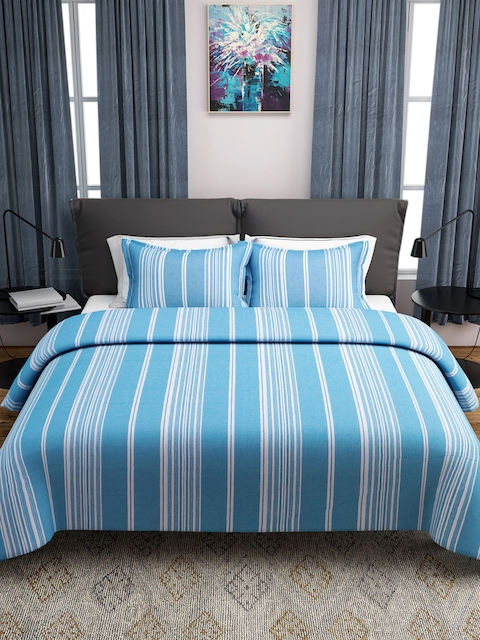 ROMEE Blue & White Striped Double Bed Cover with 2 Pillow Covers
