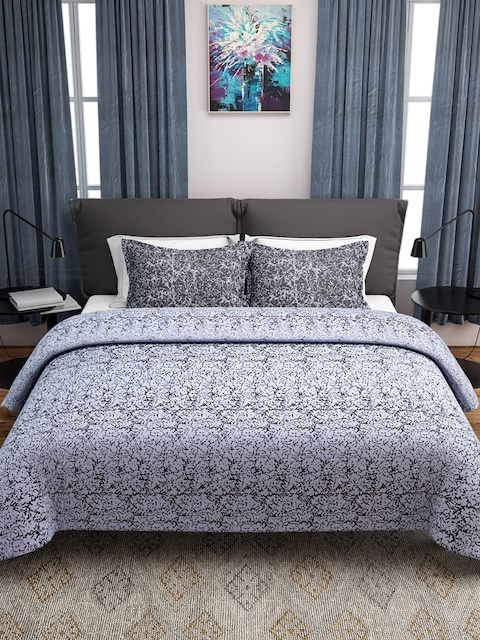 ROMEE White & Grey Woven Design Double Bed Cover with 2 Pillow Covers