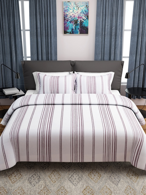 ROMEE Maroon & White Striped Double Bed Cover with 2 Pillow Covers