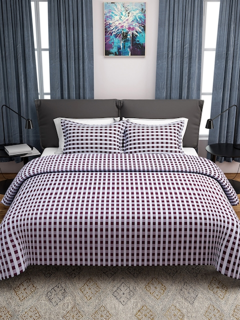 ROMEE Maroon & White Checked 170 TC Polycotton Bed Cover with 2 Pillow Covers
