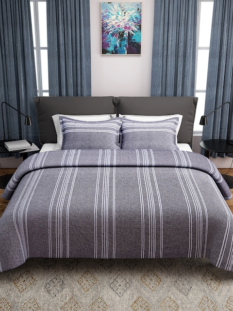 ROMEE Grey & White Woven Design 150 TC Cotton Bed Cover with 2 Pillow Covers