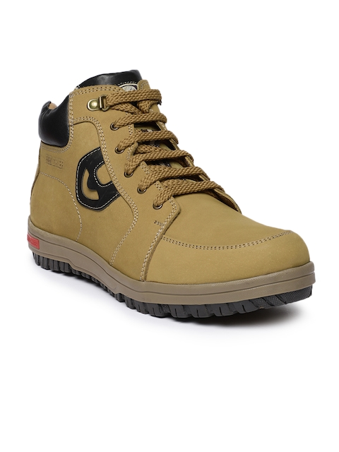Red Chief Men Camel Brown Solid Leather Mid-Top Flat Boots