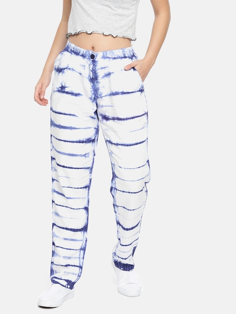 Pepe Jeans Women White & Blue Regular Fit Printed Regular Trousers