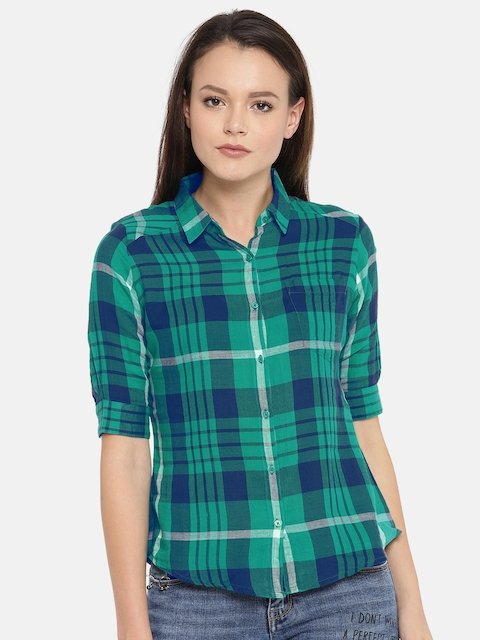 SPYKAR Women Green & Navy Blue Checked Shirt
