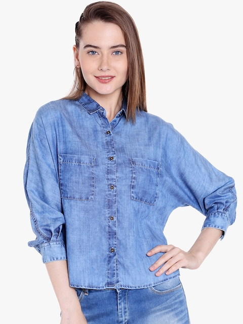 SPYKAR Women Blue Regular Fit Faded Casual Shirt