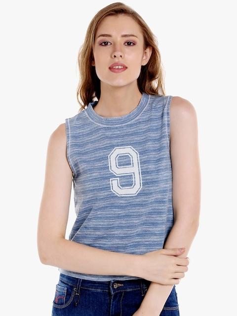 SPYKAR Women Blue Striped Round Neck T-shirt
