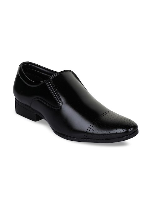 Bruno Manetti Men Black Leather Formal Shoes