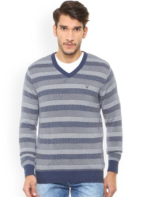 Allen Solly Men Blue & Grey Striped Sweater