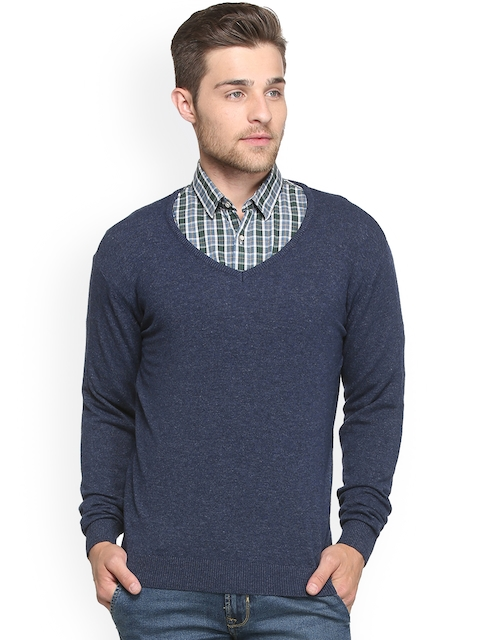 Peter England Men Blue Solid Pullover