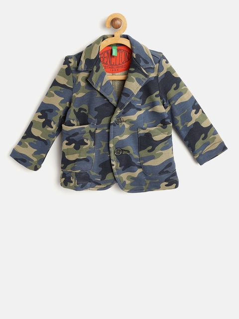 United Colors of Benetton Boys Olive Green & Blue Camouflage Print Blazer
