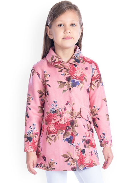 Cherry Crumble Girls Pink Printed Suede Coat