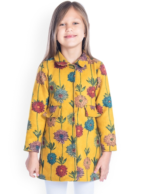 Cherry Crumble Girls Mustard-Yellow Printed Longline Coat