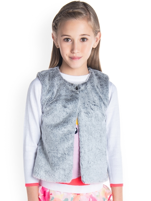 Cherry Crumble Girls Grey Solid Open Front Jacket