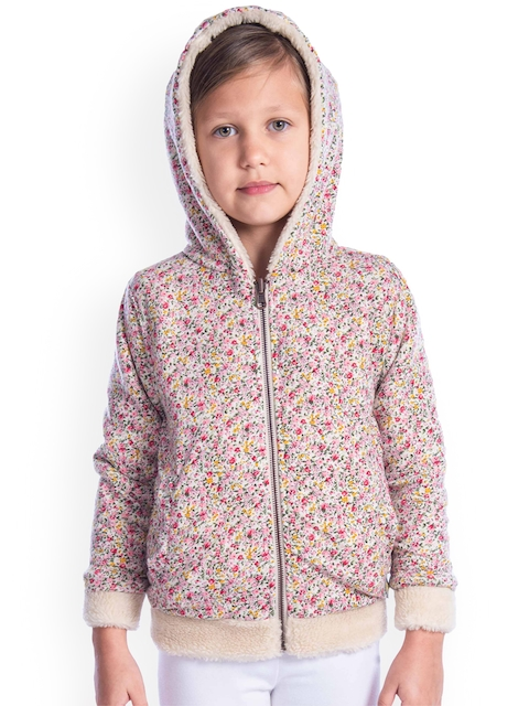 Cherry Crumble Girls Multicoloured Solid Reversible Open Front Jacket
