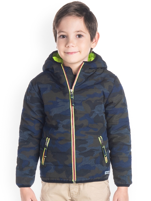 Cherry Crumble Boys Grey Printed Puffer Jacket