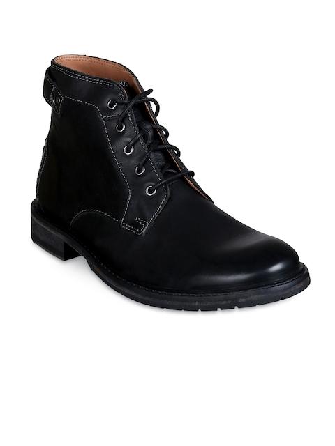 Clarks Men Black Flat Leather Boots