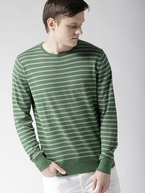 Tommy Hilfiger Men Green & White Striped Pullover