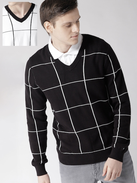 Tommy Hilfiger Men Black & White Checked Reversible Pullover