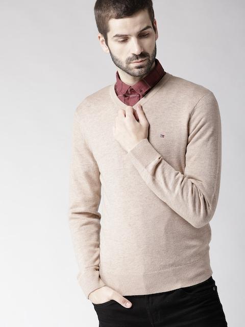 Tommy Hilfiger Men Beige Woollen Solid Pullover