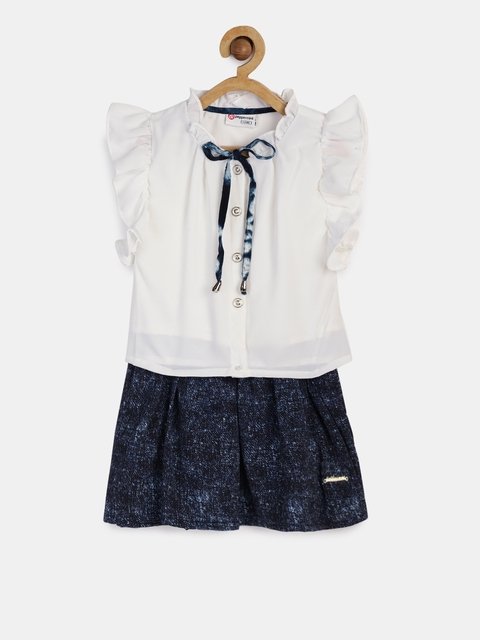Peppermint Girls Navy Blue & White Top with Skirt