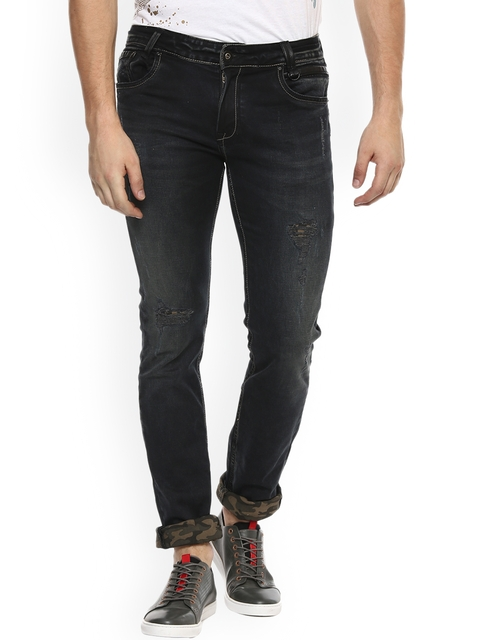 Mufti Men Black Slim Fit Mid-Rise Clean Look Stretchable Jeans