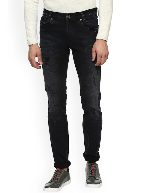 Mufti Men Black Slim Fit Mid-Rise Mildly Distressed Stretchable Jeans