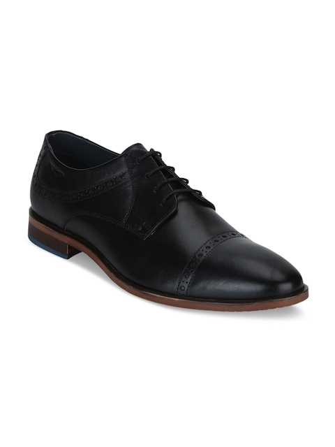 Park Avenue Men Black Leather Formal Derbys
