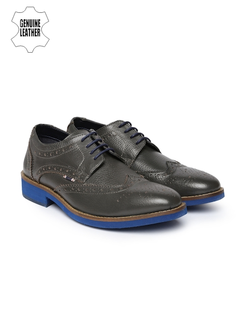 Jack & Jones Men Grey Melange Genuine Leather Brogues