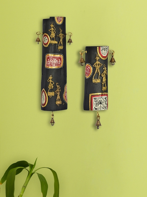 ExclusiveLane Dhokra & Warli Handpainted Natural Wooden Log Wall Dcor Set