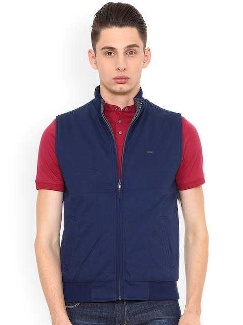 Peter England Casuals Men Blue Solid Tailored Jacket
