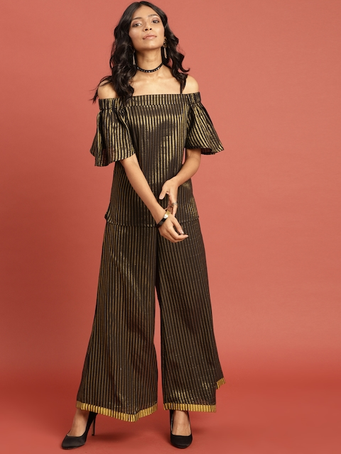 Taavi Women Black & Gold-Toned Striped Kasavu Ethnic Top & Palazzo Set
