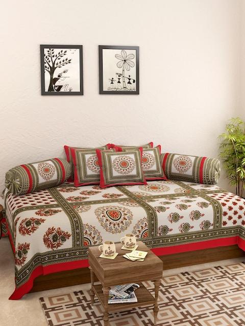 Rajasthan Decor White & Green Printed Diwan Set
