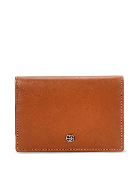 Eske Men Tan Brown Solid Leather Card Holder
