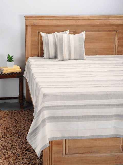 NEUDIS Beige Hand Woven Cotton Single Bed Cover with 2 Cushion Covers