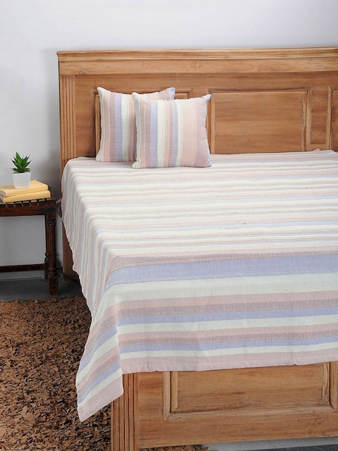 NEUDIS Pink Hand Woven Cotton Single Bed Cover with 2 Cushion Covers