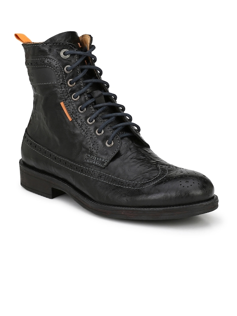 Alberto Torresi Men Black Solid High-Top Flat Boots