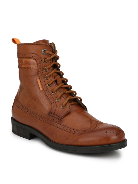 Alberto Torresi Men Tan Solid Synthetic Mid-Top Flat Boots