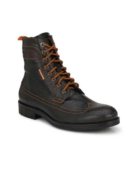 Alberto Torresi Men Brown Solid High-Top Flat Boots