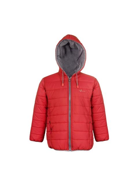 naughty ninos Unisex Red Solid Lightweight Puffer Jacket