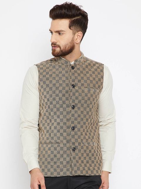 even MenBeige & Black Checked Nehru Jacket