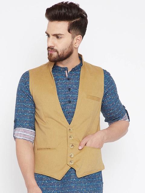even Men Beige Waistcoat